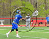 Cicero-North Syracuse Northstars goalie Brian Jobin (22) passing the ball against the Baldwinsville Bees in Section III Boys Lacrosse action at the Pelcher-Arcaro Stadium in Baldwinsville, New York on Thursday, April 27, 2017.  Baldwinsville won 15-8.