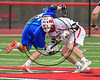 Baldwinsville Bees Cameron Slink (25) and Cicero-North Syracuse Northstars Joel Firth (14) face-off in a Section III Boys Lacrosse game at the Pelcher-Arcaro Stadium in Baldwinsville, New York on Thursday, April 27, 2017.  Baldwinsville won 15-8.