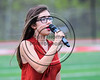 Baldwinsville student sings the National Antthem before the Bees played the Cicero-North Syracuse Northstars in a Section III Boys Lacrosse game at the Pelcher-Arcaro Stadium in Baldwinsville, New York on Thursday, April 27, 2017.
