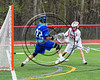 Baldwinsville Bees Spencer Wirtheim (10) lines up a shot against Cicero-North Syracuse Northstars goalie Brian Jobin (22) for a goal in Section III Boys Lacrosse action at the Pelcher-Arcaro Stadium in Baldwinsville, New York on Thursday, April 27, 2017.  Baldwinsville won 15-8.