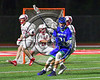 Cicero-North Syracuse Northstars Josh Pickard (21) with the ball against the Baldwinsville Bees in Section III Boys Lacrosse action at the Pelcher-Arcaro Stadium in Baldwinsville, New York on Thursday, April 27, 2017.  Baldwinsville won 15-8.