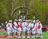 Baldwinsville Bees hubble up before playing the Auburn Maroons in Section III Boys Lacrosse action at the Pelcher-Arcaro Stadium in Baldwinsville, New York on Saturday, April 29, 2017.