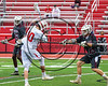 Baldwinsville Bees Spencer Wirtheim (10) turining, shooting and scoring against the Auburn Maroons in Section III Boys Lacrosse action at the Pelcher-Arcaro Stadium in Baldwinsville, New York on Saturday, April 29, 2017.  Baldwinsville won 11-6.