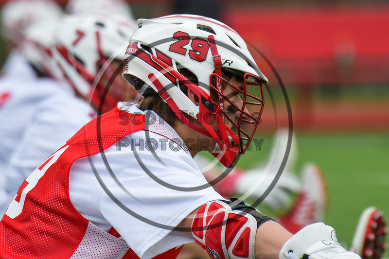 Baldwinsville Bees Kyle Pelcher (29) during pre-game warm ups before playing the Auburn Maroons in a Section III Boys Lacrosse game at the Pelcher-Arcaro Stadium in Baldwinsville, New York on Saturday, April 29, 2017.