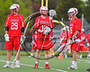 Baldwinsville Bees Kyle Pelcher (29), David Steria (12) and goalie Frank Delia (16) before playing the West Genesee Wildcats in a Section 3 Boys Lacrosse game at Mike Messere Field in Camillus, New York on Thursday, May 11, 2017.