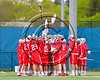 Baldwinsville Bees huddle up before playing the West Genesee Wildcats in a Section 3 Boys Lacrosse game at Mike Messere Field in Camillus, New York on Thursday, May 11, 2017.