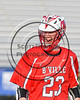 Baldwinsville Bees Matt Dickman (23) wearing Beads of Courage in support of Maureen's Hope Foundation before playing the Cicero-North Syracuse Northstars in a Section 3 Boys Lacrosse game at Michael Bragman Stadium in Cicero, New York on Tuesday, May 16, 2017.