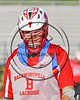 Baldwinsville Bees Jeff Vivano (34) wearing Beads of Courage in support of Maureen's Hope Foundation before playing the Cicero-North Syracuse Northstars in a Section 3 Boys Lacrosse game at Michael Bragman Stadium in Cicero, New York on Tuesday, May 16, 2017.