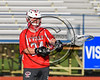 Baldwinsville Bees goalie Justin Johnson (24) wearing Beads of Courage in support of Maureen's Hope Foundation before playing the Cicero-North Syracuse Northstars in a Section 3 Boys Lacrosse game at Michael Bragman Stadium in Cicero, New York on Tuesday, May 16, 2017.