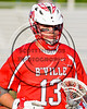 Baldwinsville Bees Peter Fiorni III (13) wearing Beads of Courage in support of Maureen's Hope Foundation before playing the Cicero-North Syracuse Northstars in a Section 3 Boys Lacrosse game at Michael Bragman Stadium in Cicero, New York on Tuesday, May 16, 2017.