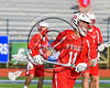 Baldwinsville Bees Cole Peters (11) wearing Beads of Courage in support of Maureen's Hope Foundation before playing the Cicero-North Syracuse Northstars in a Section 3 Boys Lacrosse game at Michael Bragman Stadium in Cicero, New York on Tuesday, May 16, 2017.