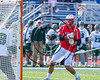 Baldwinsville Bees Ryan Gebhardt (20) making his way towards the Fayetteville-Manlius Hornets net in Section III Class A Semifinals Boys Lacrosse action at Michael Bragman Stadium in Cicero, New York on Tuesday, May 23, 2017.  Baldwinsville won 9-8 in OT.