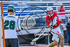 Baldwinsville Bees Ryan Gebhardt (20) shoots and scores during the First Quarter against the Fayetteville-Manlius Hornets in Section III Class A Semifinals Boys Lacrosse action at Michael Bragman Stadium in Cicero, New York on Tuesday, May 23, 2017.  Baldwinsville won 9-8 in OT.