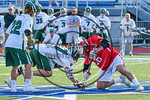 Baldwinsville Bees Michael Tangredi (26) facing off against Fayetteville-Manlius Hornets Craig Campbell (17) to start overtime in Section III Class A Semifinals Boys Lacrosse action at Micha ...