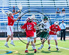 Fayetteville-Manlius Hornets Mac Fish (6) shoots and scores past Baldwinsville Bees defenders goalie Frank Delia (16), David Steria (12) and Brian Yeatts (1) in Section III Class A Semifinals Boys Lacrosse action at Michael Bragman Stadium in Cicero, New York on Tuesday, May 23, 2017.  Baldwinsville won 9-8 in OT.