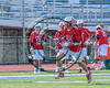 Baldwinsville Bees Matt Dickman (23) running with the ball against the Fayetteville-Manlius Hornets in Section III Class A Semifinals Boys Lacrosse action at Michael Bragman Stadium in Cicero, New York on Tuesday, May 23, 2017.  Baldwinsville won 9-8 in OT.