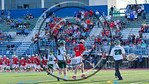Baldwinsville Bees Matt Dickman (23) celebrates his overtime winning goal against the Fayetteville-Manlius Hornets in Section III Class A Semifinals Boys Lacrosse action at Michael Bragman S ...