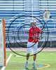 Baldwinsville Bees goalie Frank Delia (16) passing the ball against the Fayetteville-Manlius Hornets in Section III Class A Semifinals Boys Lacrosse action at Michael Bragman Stadium in Cicero, New York on Tuesday, May 23, 2017.  Baldwinsville won 9-8 in OT.