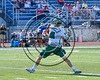 Fayetteville-Manlius Hornets Donovan Welsh (4) winding up for a shot at the Baldwinsville Bees net in Section III Class A Semifinals Boys Lacrosse action at Michael Bragman Stadium in Cicero, New York on Tuesday, May 23, 2017.  Baldwinsville won 9-8 in OT.