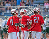 Baldwinsville Bees Ryan Gebhardt (20) celebrates his goal against the Fayetteville-Manlius Hornets in Section III Class A Semifinals Boys Lacrosse action at Michael Bragman Stadium in Cicero, New York on Tuesday, May 23, 2017.  Baldwinsville won 9-8 in OT.