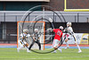 Baldwinsville Bees Michael Tangredi (26) fires the ball at the West Genesee Wildcats net in Section III Class A Finals Boys Lacrosse action at Michael Bragman Stadium in Cicero, New York on Thursday, May 25, 2017.  Baldwinsville won 9-8.