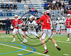 Baldwinsville Bees Peter Fiorni III (13) shoots and scores against the West Genesee Wildcats in Section III Class A Finals Boys Lacrosse action at Michael Bragman Stadium in Cicero, New York on Thursday, May 25, 2017.  Baldwinsville won 9-8.