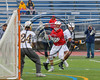 Baldwinsville Bees Ryan Gebhardt (20) avoids a West Genesee Wildcats defender on his way to scoring a goal against the Wildcats goalie Luke Staudt (24) in Section III Class A Finals Boys Lacrosse action at Michael Bragman Stadium in Cicero, New York on Thursday, May 25, 2017.  Baldwinsville won 9-8.