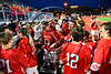 Baldwinsville Bees players celebrating the Section III Championship for Class A Boys Lacrosse with parents, students and fans after defeating the West Genesee Wildcats at Michael Bragman Stadium in Cicero, New York on Thursday, May 25, 2017 by a score of 9-8.
