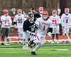 Baldwinsville Bees Brian Yeatts (1) with the ball against the Pittsford Panthers in Section III Boys Lacrosse action at the Pelcher-Arcaro Stadium in Baldwinsville, New York on Saturday, April 7, 2018.  Baldwinsville won 14-6.