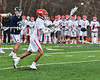 Baldwinsville Bees Austin Bolton (15) shoots and scores against the Pittsford Panthers in Section III Boys Lacrosse action at the Pelcher-Arcaro Stadium in Baldwinsville, New York on Saturday, April 7, 2018.  Baldwinsville won 14-6.