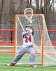 Baldwinsville Bees goalie J.J. Johnson (24) warming up before playing the Pittsford Panthers in a Section III Boys Lacrosse game at the Pelcher-Arcaro Stadium in Baldwinsville, New York on Saturday, April 7, 2018.