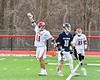 Baldwinsville Bees Cole Peters (11) celebrates his goal against the Pittsford Panthers in Section III Boys Lacrosse action at the Pelcher-Arcaro Stadium in Baldwinsville, New York on Saturday, April 7, 2018.  Baldwinsville won 14-6.