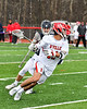Baldwinsville Bees Cole Peters (11) with the ball against the Pittsford Panthers in Section III Boys Lacrosse action at the Pelcher-Arcaro Stadium in Baldwinsville, New York on Saturday, April 7, 2018.  Baldwinsville won 14-6.