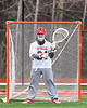 Baldwinsville Bees goalie J.J. Johnson (24) in net against the Pittsford Panthers in Section III Boys Lacrosse action at the Pelcher-Arcaro Stadium in Baldwinsville, New York on Saturday, April 7, 2018.  Baldwinsville won 14-6.