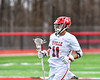 Baldwinsville Bees Cole Peters (11) cradling the ball against the Pittsford Panthers in Section III Boys Lacrosse action at the Pelcher-Arcaro Stadium in Baldwinsville, New York on Saturday, April 7, 2018.  Baldwinsville won 14-6.