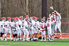 Baldwinsville Bees goalie J.J. Johnson (24) being introduced before playing the Pittsford Panthers in a Section III Boys Lacrosse game at the Pelcher-Arcaro Stadium in Baldwinsville, New York on Saturday, April 7, 2018.