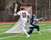 Baldwinsville Bees Peter Fiorni III (13) raises his stick in celebration of his goal against the Pittsford Panthers in Section III Boys Lacrosse action at the Pelcher-Arcaro Stadium in Baldwinsville, New York on Saturday, April 7, 2018.  Baldwinsville won 14-6.