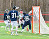 Baldwinsville Bees Cameron Slink (25) scores a goal against the Pittsford Panthers in Section III Boys Lacrosse action at the Pelcher-Arcaro Stadium in Baldwinsville, New York on Saturday, April 7, 2018.  Baldwinsville won 14-6.