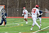 Baldwinsville Bees Peter Fiorni III (13) shoots and scores against the Pittsford Panthers in Section III Boys Lacrosse action at the Pelcher-Arcaro Stadium in Baldwinsville, New York on Saturday, April 7, 2018.  Baldwinsville won 14-6.