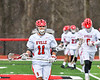 Baldwinsville Bees Cole Peters (11) warming up before playing the Pittsford Panthers in a Section III Boys Lacrosse game at the Pelcher-Arcaro Stadium in Baldwinsville, New York on Saturday, April 7, 2018.