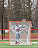 Baldwinsville Bees goalie J.J. Johnson (24) passing the ball against the Pittsford Panthers in Section III Boys Lacrosse action at the Pelcher-Arcaro Stadium in Baldwinsville, New York on Saturday, April 7, 2018.  Baldwinsville won 14-6.