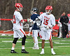 Baldwinsville Bees Austin Bolton (15) celebrates his goal with Brandon Mimas (21) against the Pittsford Panthers in Section III Boys Lacrosse action at the Pelcher-Arcaro Stadium in Baldwinsville, New York on Saturday, April 7, 2018.  Baldwinsville won 14-6.