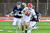 Baldwinsville Bees Michael Tangredi (26) with the ball against the Pittsford Panthers in Section III Boys Lacrosse action at the Pelcher-Arcaro Stadium in Baldwinsville, New York on Saturday, April 7, 2018.  Baldwinsville won 14-6.