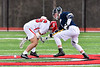 Baldwinsville Bees Michael Tangredi (26) wins a face-off against the Pittsford Panthers in Section III Boys Lacrosse action at the Pelcher-Arcaro Stadium in Baldwinsville, New York on Saturday, April 7, 2018.  Baldwinsville won 14-6.