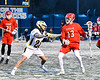 Baldwinsville Bees Peter Fiorni III (13) being defended by West Genesee Wildcats Tom Baker (28) in Section III Boys Lacrosse action at Mike Messere Field in Camillus, New York on Tuesday, April 17, 2018.  Baldwinsville won 8-7.