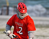 Baldwinsville Bees David Steria (12) playing against the West Genesee Wildcats in Section III Boys Lacrosse action at Mike Messere Field in Camillus, New York on Tuesday, April 17, 2018.  Baldwinsville won 8-7.