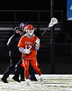 Baldwinsville Bees David Steria (12) with the ball against the West Genesee Wildcats in Section III Boys Lacrosse action at Mike Messere Field in Camillus, New York on Tuesday, April 17, 2018.  Baldwinsville won 8-7.