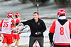 Baldwinsville Bees Assistant Coach Andy Lamb putting his defensemen through a drill before playing the West Genesee Wildcats in a Section III Boys Lacrosse game at Mike Messere Field in Camillus, New York on Tuesday, April 17, 2018.