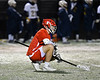Baldwinsville Bees Ben Dwyer (5) takes a short breather while playing against the West Genesee Wildcats in Section III Boys Lacrosse action at Mike Messere Field in Camillus, New York on Tuesday, April 17, 2018.  Baldwinsville won 8-7.