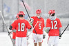 Baldwinsville Bees defenders Daniel Fuller (18), Ben Dwyer (5), David Steria (12) and goalie J.J. Johnson (24) celebrate a B'ville goal against the Cicero-North Syracuse Northstars in Section III Boys Lacrosse action at Michael Bragman Stadium in Cicero, New York on Thursday, April 19, 2018.  Baldwinsville won 9-6.